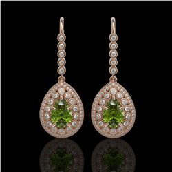 9.95 ctw Tourmaline & Diamond Victorian Earrings 14K Rose Gold - REF-318K4Y