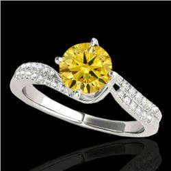 1.2 ctw Certified SI Fancy Yellow Diamond Bypass Ring 10k White Gold - REF-190G9W