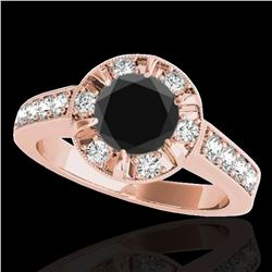 2 ctw Certified VS Black Diamond Solitaire Halo Ring 10k Rose Gold - REF-68F3M