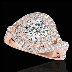 1.75 ctw Certified Diamond Solitaire Halo Ring 10k Rose Gold - REF-218N2F