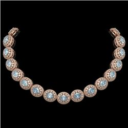 90.5 ctw Aquamarine & Diamond Victorian Necklace 14K Rose Gold - REF-3020F2M