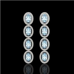 4.68 ctw Aquamarine & Diamond Micro Pave Halo Earrings 10k White Gold - REF-143K6Y