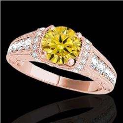 1.5 ctw Certified SI Intense Yellow Diamond Antique Ring 10k Rose Gold - REF-211W4H