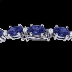 19.7 ctw Tanzanite & VS/SI Diamond Eternity Bracelet 10k White Gold - REF-178H2R
