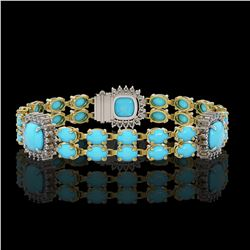 15.27 ctw Turquoise & Diamond Bracelet 14K Yellow Gold - REF-263F6M