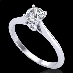 0.56 ctw VS/SI Diamond Solitaire Art Deco Ring 18k White Gold - REF-72X2A
