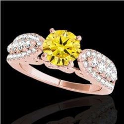 2 ctw Certified SI/I Fancy Intense Yellow Diamond Ring 10k Rose Gold - REF-259H3R