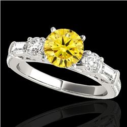 2 ctw Certified SI/I Fancy Intense Yellow Diamond Pave Ring 10k White Gold - REF-231K8Y