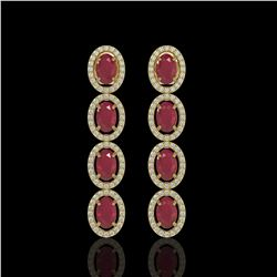 6.47 ctw Ruby & Diamond Micro Pave Halo Earrings 10k Yellow Gold - REF-143G6W