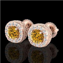 1.69 ctw Intense Fancy Yellow Diamond Art Deco Earrings 18k Rose Gold - REF-254Y5X