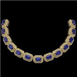 137.65 ctw Sapphire & Diamond Victorian Necklace 14K Yellow Gold - REF-2875M6G