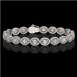13.25 ctw Oval Cut Diamond Micro Pave Bracelet 18K White Gold - REF-1808W5H