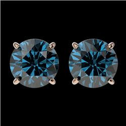 2 ctw Certified Intense Blue Diamond Stud Earrings 10k Rose Gold - REF-181Y6X