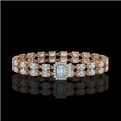 17.24 ctw Sky Topaz & Diamond Bracelet 14K Rose Gold - REF-236A4N