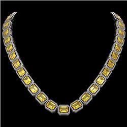 77.35 ctw Fancy Citrine & Diamond Micro Pave Halo Necklace 10k White Gold - REF-737W3H