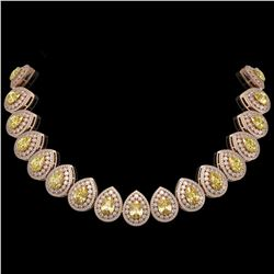103.62 ctw Canary Citrine & Diamond Victorian Necklace 14K Rose Gold - REF-3002N4F