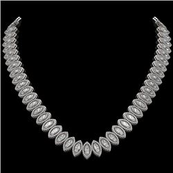 39.68 ctw Marquise Cut Diamond Micro Pave Necklace 18K White Gold - REF-5438A6N