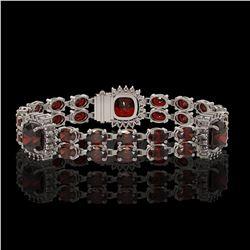 17.34 ctw Garnet & Diamond Bracelet 14K White Gold - REF-263R6K