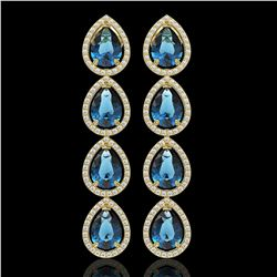 11.2 ctw London Topaz & Diamond Micro Pave Halo Earrings 10k Yellow Gold - REF-172A8N