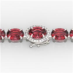 27 ctw Pink Tourmaline & VS/SI Diamond Micro Bracelet 14k White Gold - REF-292K5Y
