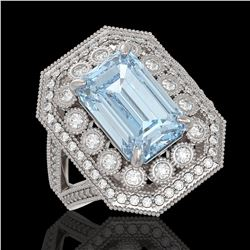 5.69 ctw Certified Aquamarine & Diamond Victorian Ring 14K White Gold - REF-170A9N
