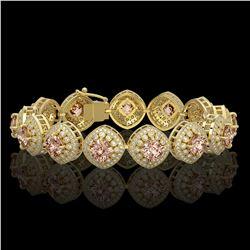 31.35 ctw Morganite & Diamond Victorian Bracelet 14K Yellow Gold - REF-1063N3F