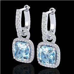 7 ctw Sky Blue Topaz & Micro Pave VS/SI Diamond Earrings 18k White Gold - REF-98R2K