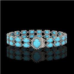 13.14 ctw Turquoise & Diamond Bracelet 14K White Gold - REF-209G3W