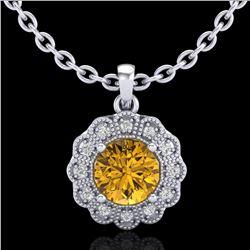 1.15 ctw Intense Fancy Yellow Diamond Art Deco Necklace 18k White Gold - REF-272R8K