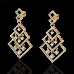 3 ctw Micro Pave VS/SI Diamond Earrings Dangling 14k Yellow Gold - REF-290X9A