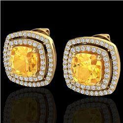 3.55 ctw Citrine & Micro Pave VS/SI Diamond Earrings 18k Yellow Gold - REF-104M2G