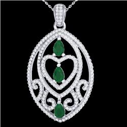 3.50 ctw Emerald & Micro Pave Diamond Heart Necklace 18k White Gold - REF-218Y2X