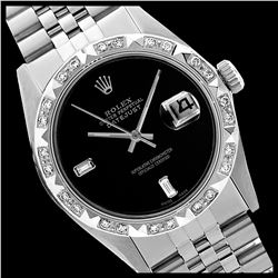 Rolex Ladies Stainless Steel, Diam Dial with Pyrimid Diam Bezel, Sapphire Crystal
