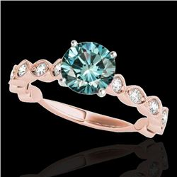 1.5 ctw SI Certified Fancy Blue Diamond Solitaire Ring 10k Rose Gold - REF-163A6N