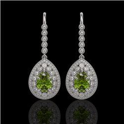 9.95 ctw Tourmaline & Diamond Victorian Earrings 14K White Gold - REF-318H4R
