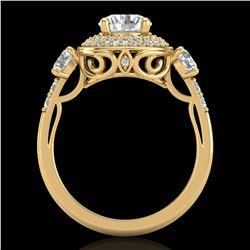 2.05 ctw VS/SI Diamond Solitaire Art Deco 3 Stone Ring 18k Yellow Gold - REF-490H9R
