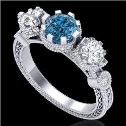 1.75 ctw Intense Blue Diamond Art Deco 3 Stone Ring 18k White Gold - REF-227W3H