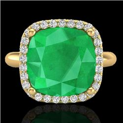 6 ctw Emerald & Micro Pave Halo VS/SI Diamond Ring 18k Yellow Gold - REF-101W8H