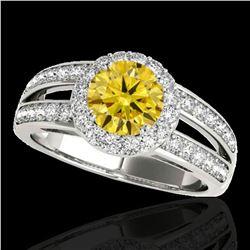 1.6 ctw Certified SI/I Fancy Intense Yellow Diamond Ring 10k White Gold - REF-214X3A