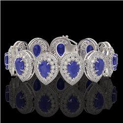 56.04 ctw Sapphire & Diamond Victorian Bracelet 14K White Gold - REF-1418N2F