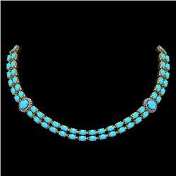 29.16 ctw Turquoise & Diamond Necklace 14K Yellow Gold - REF-454G5W