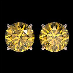 3 ctw Certified Intense Yellow Diamond Stud Earrings 10k Rose Gold - REF-527M8G