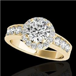 1.85 ctw Certified Diamond Solitaire Halo Ring 10k Yellow Gold - REF-225W2H