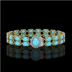 21.22 ctw Turquoise & Diamond Bracelet 14K Yellow Gold - REF-218A2N
