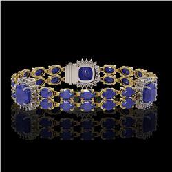 21.83 ctw Sapphire & Diamond Bracelet 14K Yellow Gold - REF-270G2W