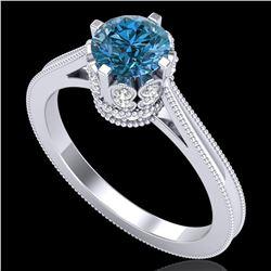 1.14 ctw Fancy Intense Blue Diamond Art Deco Ring 18k White Gold - REF-156W4H