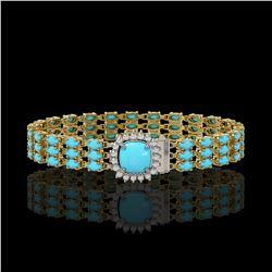 22.19 ctw Turquoise & Diamond Bracelet 14K Yellow Gold - REF-281N8F