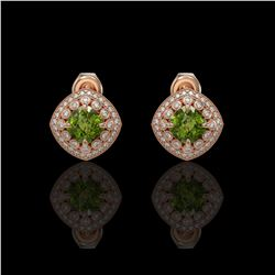 4.39 ctw Tourmaline & Diamond Victorian Earrings 14K Rose Gold - REF-131N8F