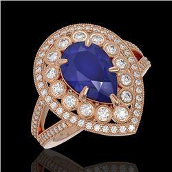 5.12 ctw Certified Sapphire & Diamond Victorian Ring 14K Rose Gold - REF-161K8Y