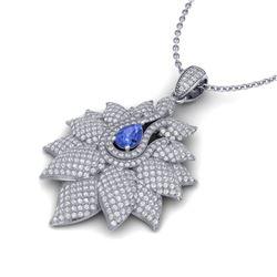 3 ctw Tanzanite & Micro Pave VS/SI Diamond Necklace 14k White Gold - REF-290W9H